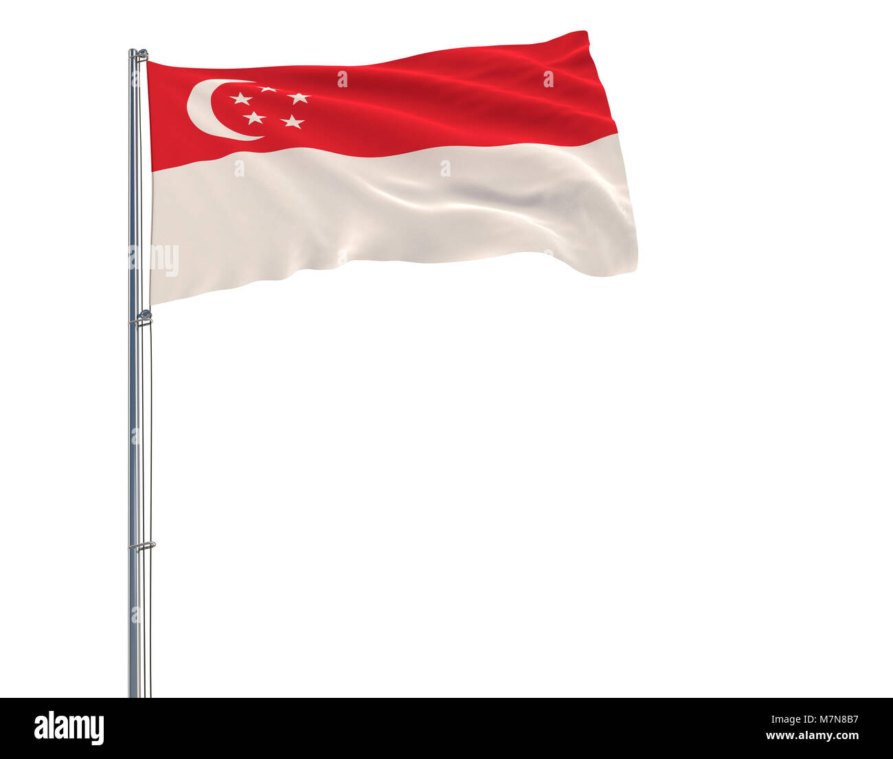 Flag of Singapore on flagpole fluttering in the wind on white background, 3d rendering - Stock Image