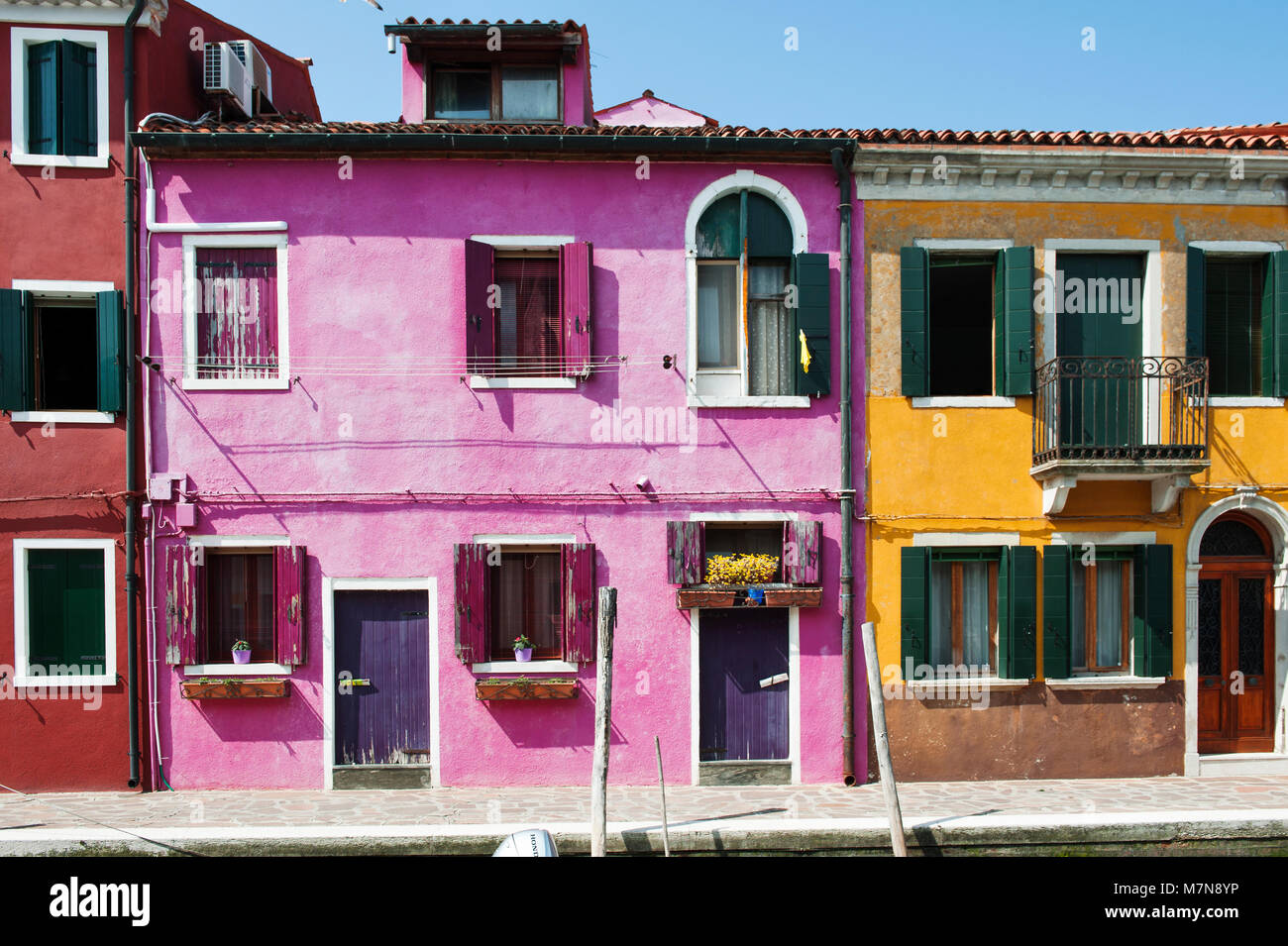 Colorful houses in Burano island, Venice, Italy, Europe - Stock Image
