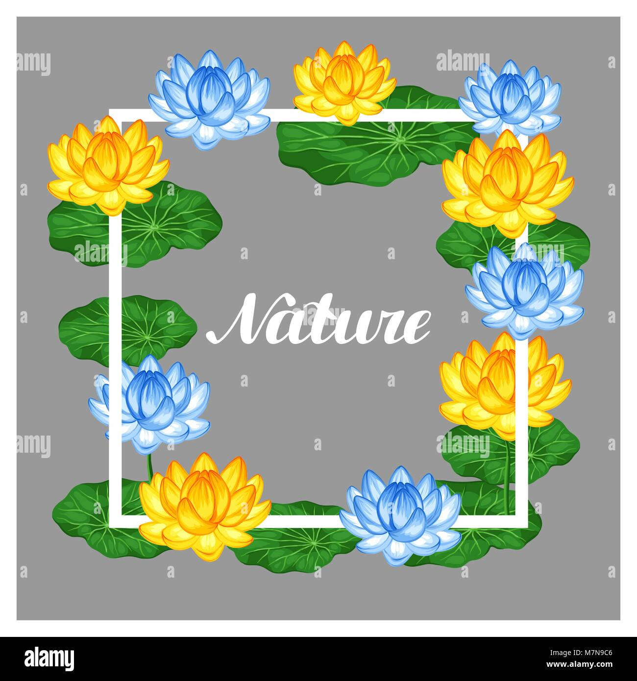 Natural frame with lotus flowers and leaves image for invitations natural frame with lotus flowers and leaves image for invitations greeting cards posters flayers mightylinksfo