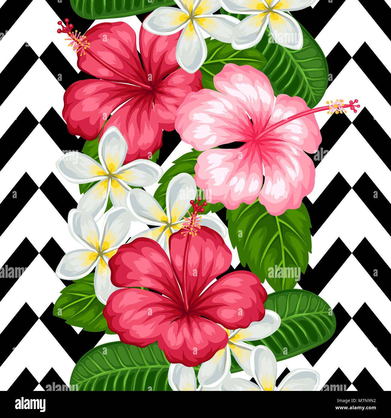 Seamless pattern with tropical flowers hibiscus and plumeria stock seamless pattern with tropical flowers hibiscus and plumeria background made without clipping mask easy to use for backdrop textile wrapping paper izmirmasajfo Choice Image