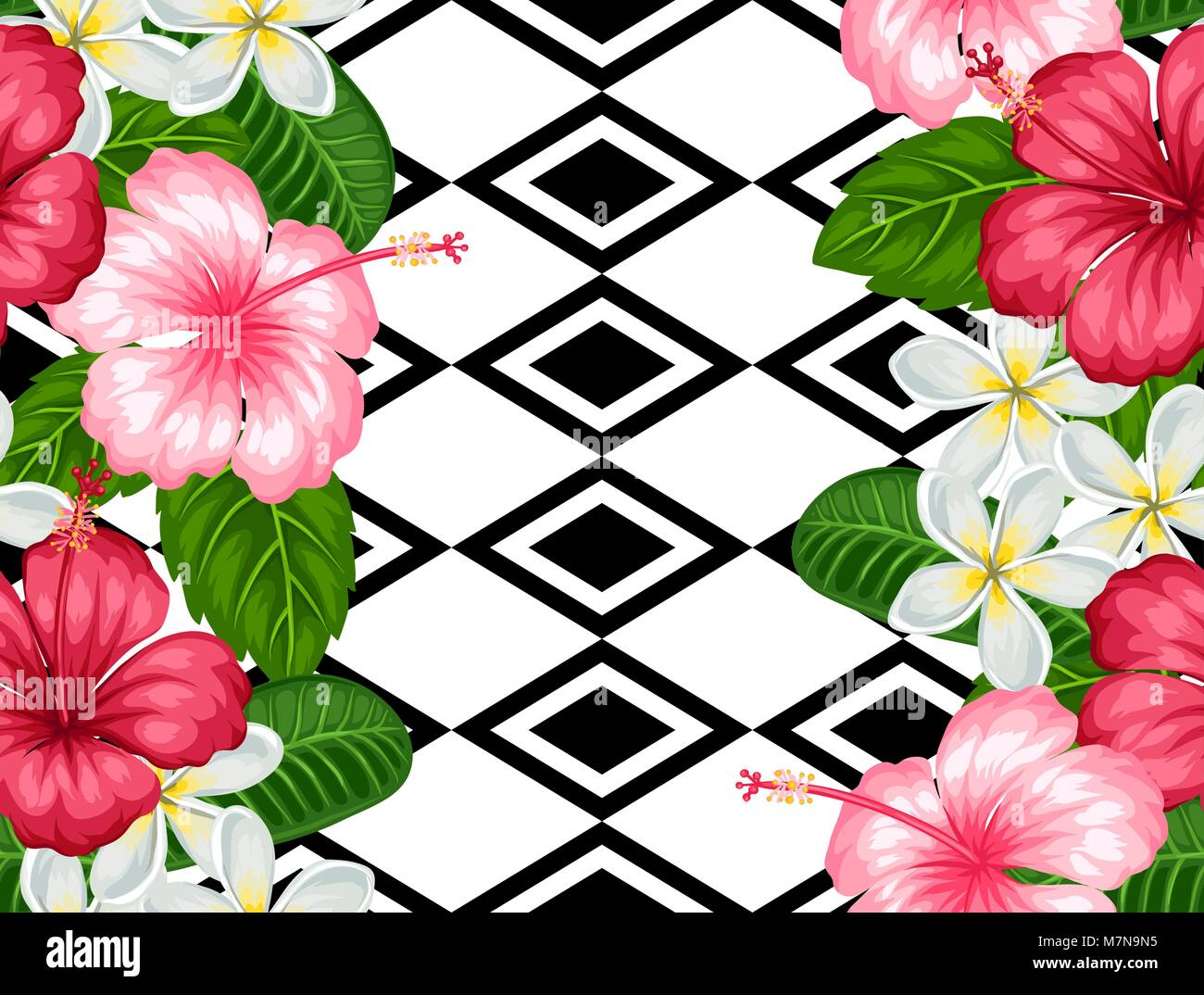 Seamless pattern with tropical flowers hibiscus and plumeria stock seamless pattern with tropical flowers hibiscus and plumeria background made without clipping mask easy to use for backdrop textile wrapping paper izmirmasajfo Gallery