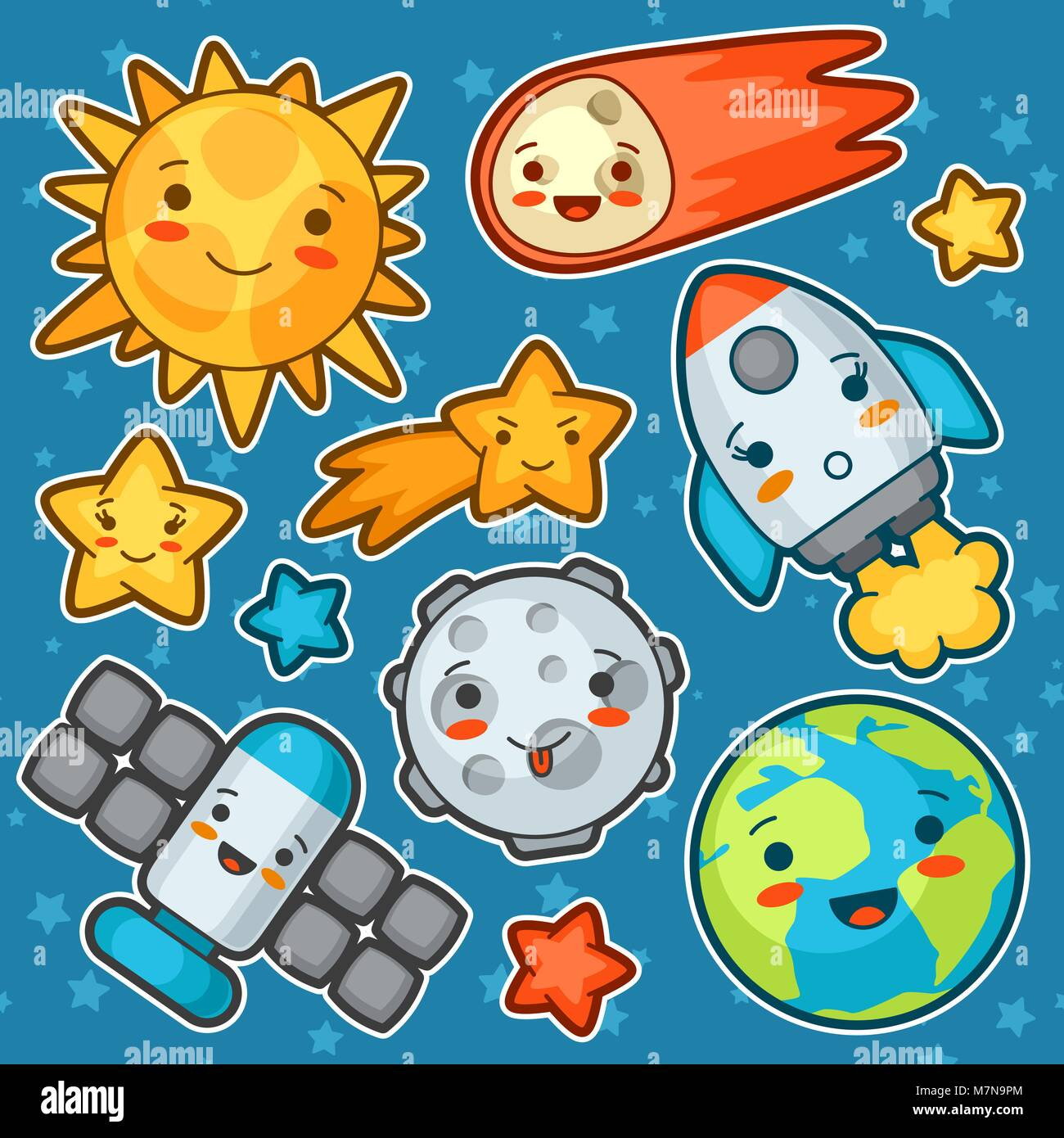 Set kawaii space objects. Doodles with pretty facial expression. Illustration of cartoon sun, earth, moon, rocket - Stock Image