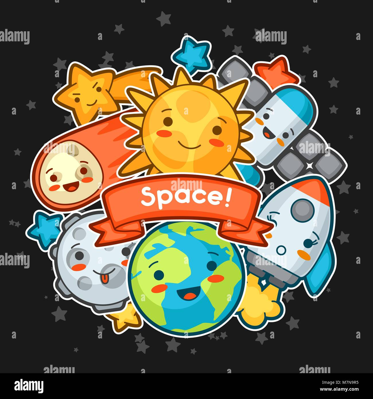 Kawaii space card. Doodles with pretty facial expression. Illustration of cartoon sun, earth, moon, rocket and celestial - Stock Image