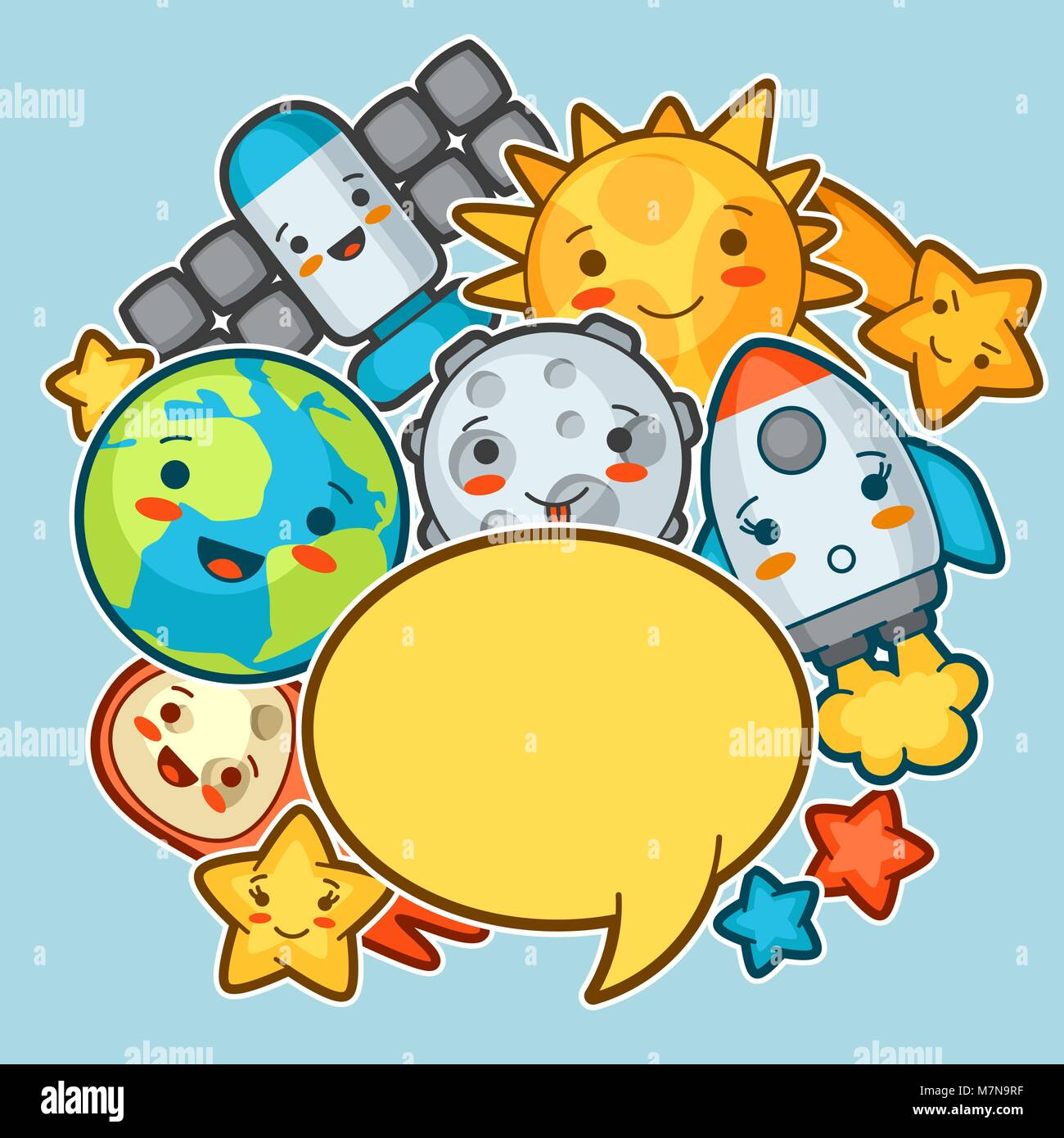 Kawaii space background. Doodles with pretty facial expression. Illustration of cartoon sun, earth, moon, rocket - Stock Image