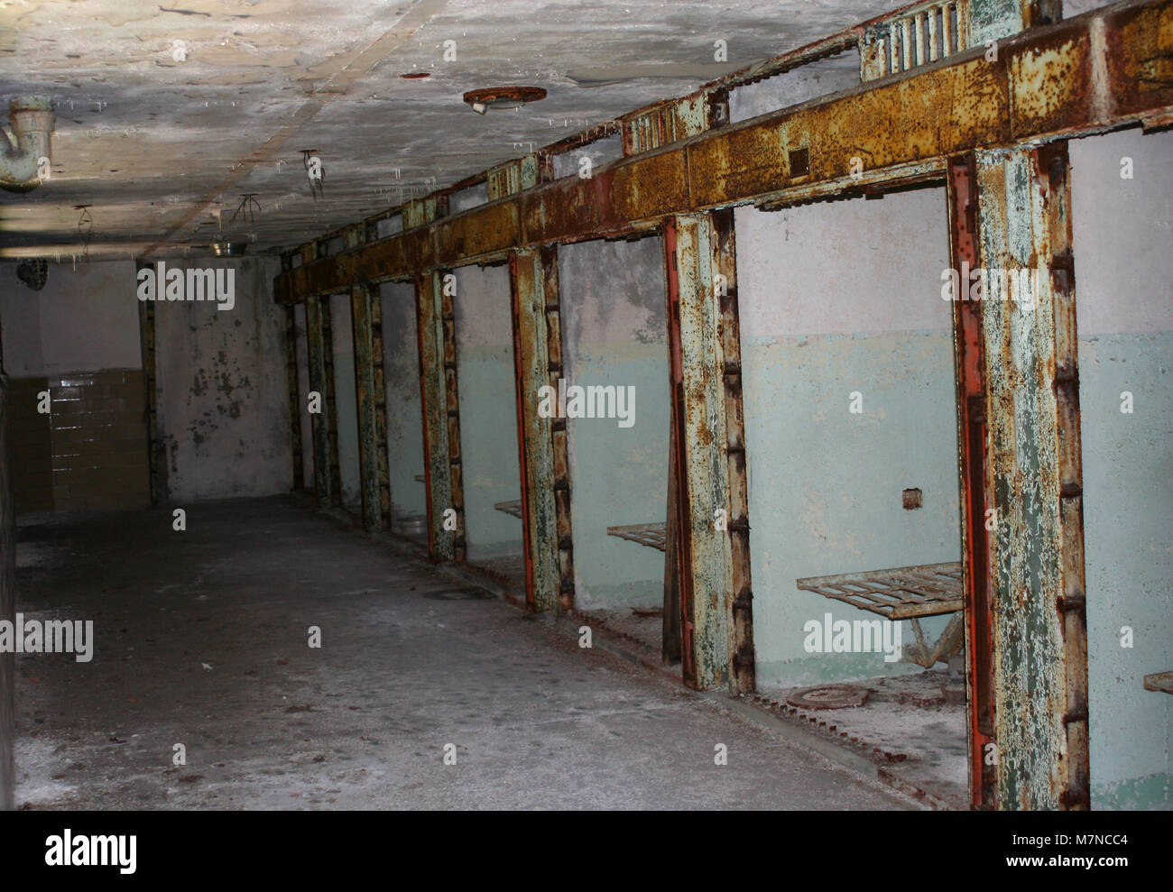 A old historic prison death row cellblock - Stock Image