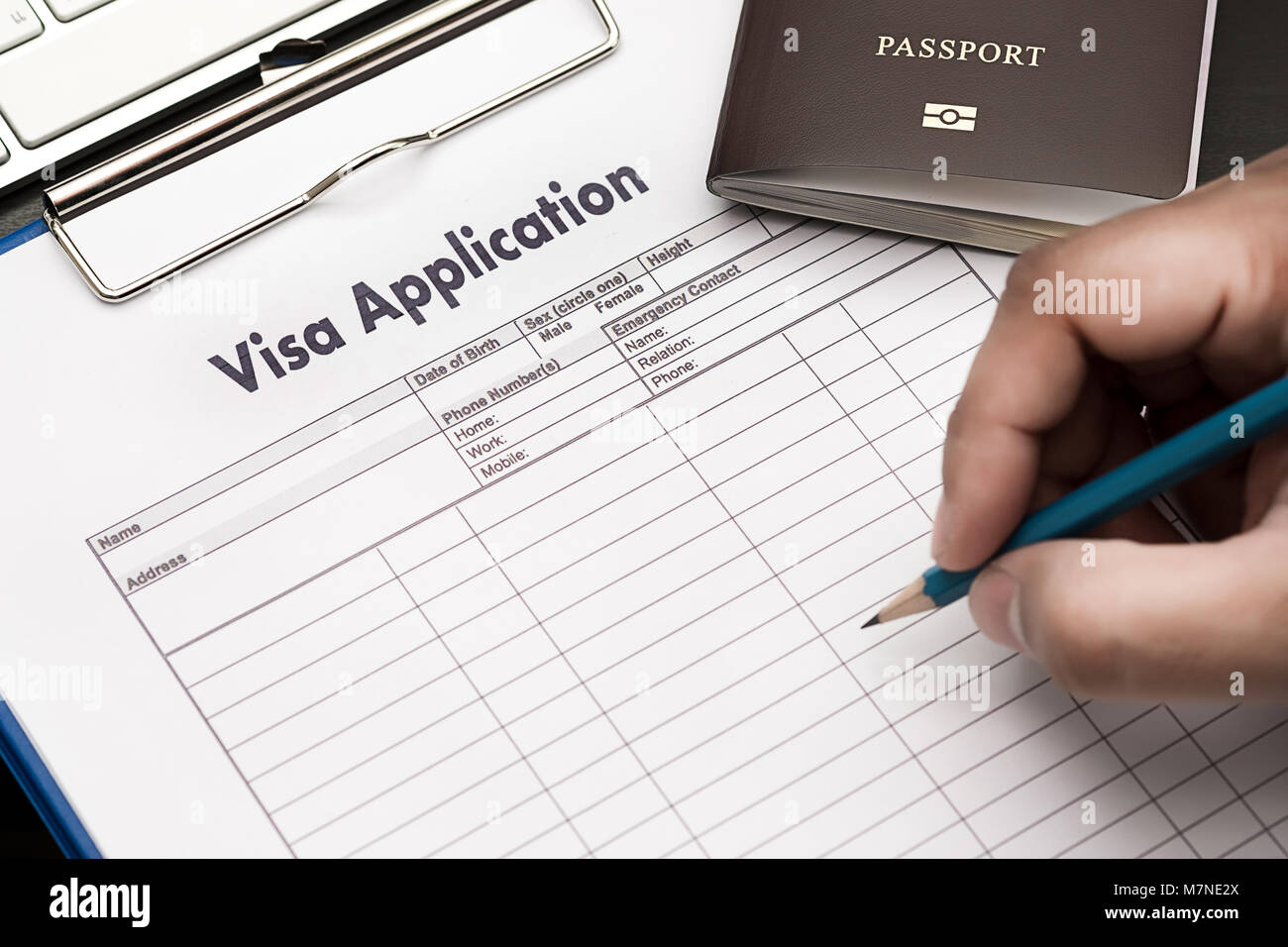 Visa application form to travel Immigration a document Money for ...