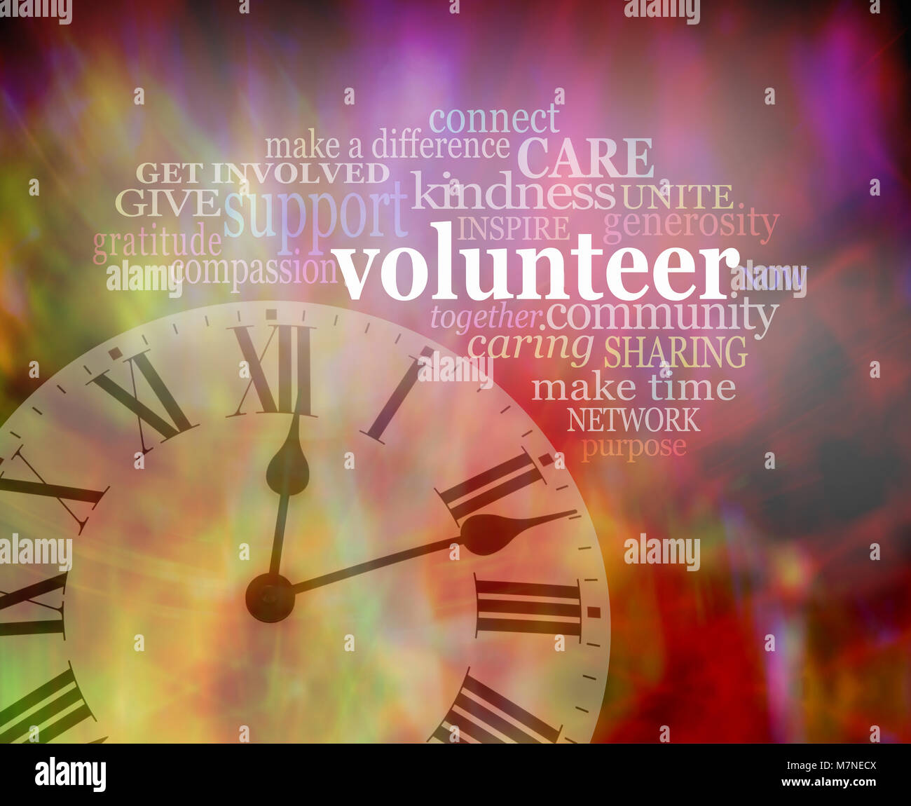 Please volunteer some time NOW  - vibrant red modern art effect background with a clock face bottom left and a VOLUNTEER - Stock Image