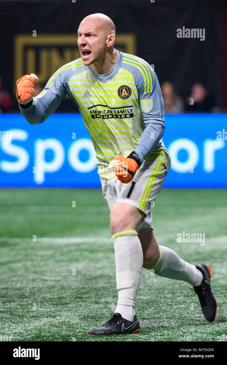 timeless design 854f0 718a3 Atlanta, USA. 11th Mar, 2018. Atlanta United goalkeeper Brad ...