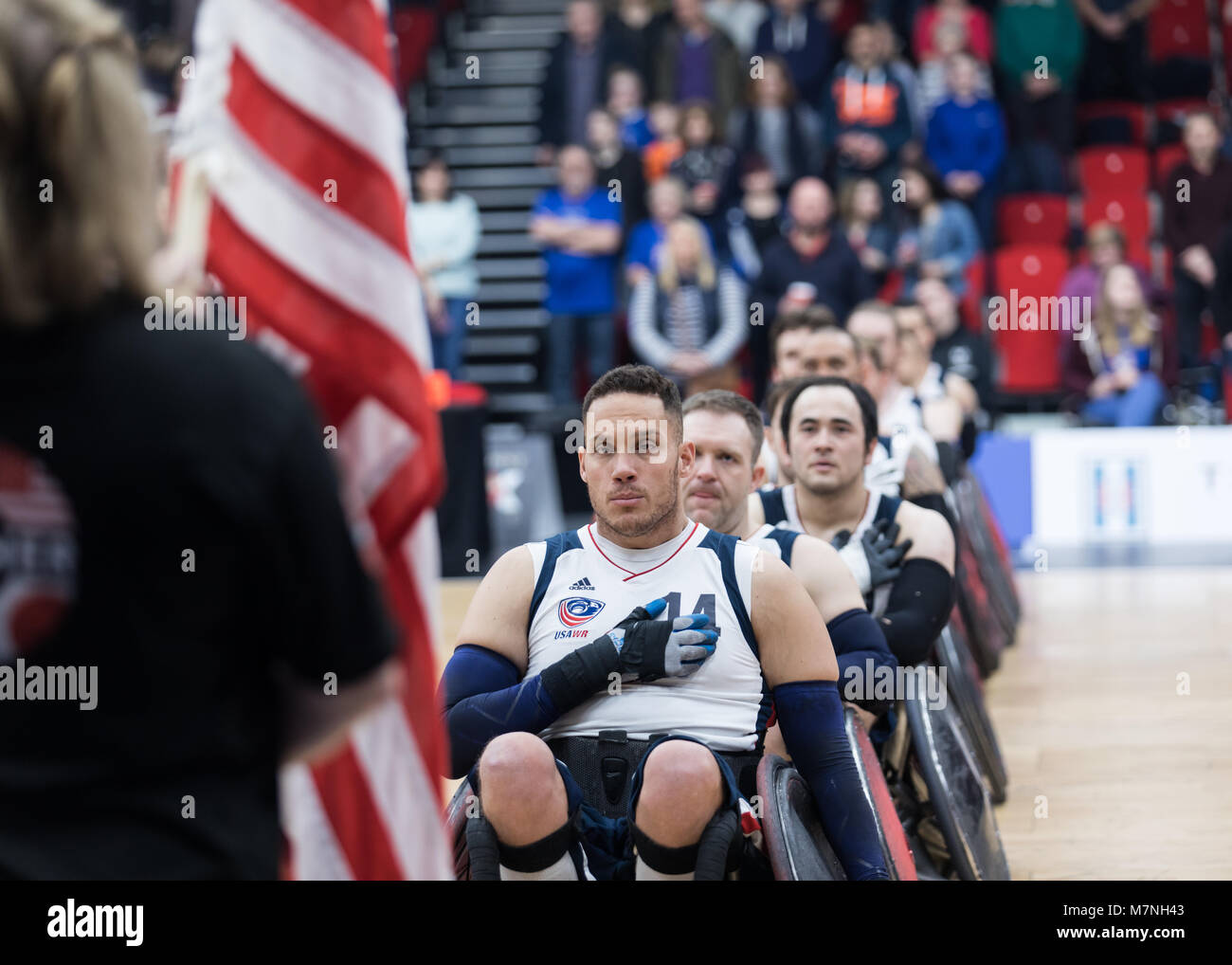 Leicester, UK. 11th March, 2018.  King Power wheelchair rugby quad nations tournament at Leicester Arena, Leicester, - Stock Image