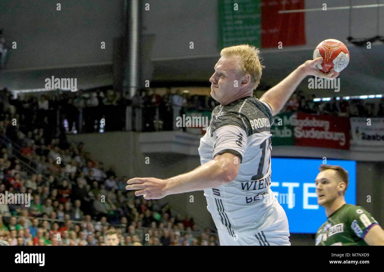 11 March 2018, Germany, Magdeburg: Handball, Bundesliga, SC Magdeburg vs. THW Kiel: Kiel's Patrik Wiencek in - Stock Image