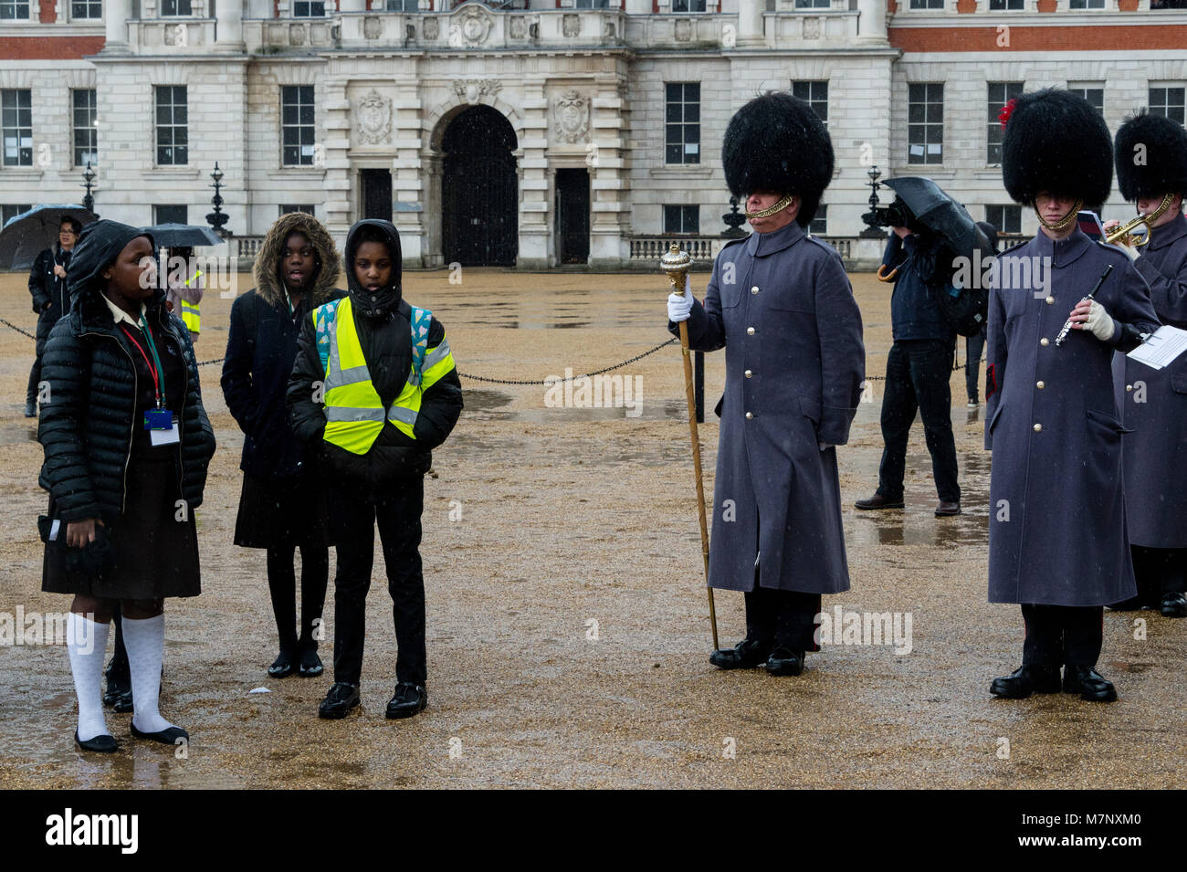 London, UK. 12th March, 2018. 400 members of the Commonwealth Children's Choir accompanied by the Band of the Coldstream - Stock Image