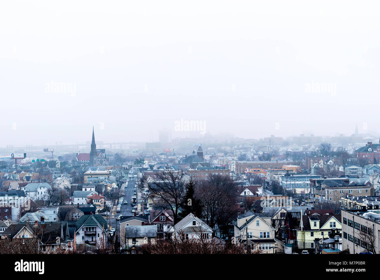 Bridgeport Connecticut Foggy Day North End Stock Photo