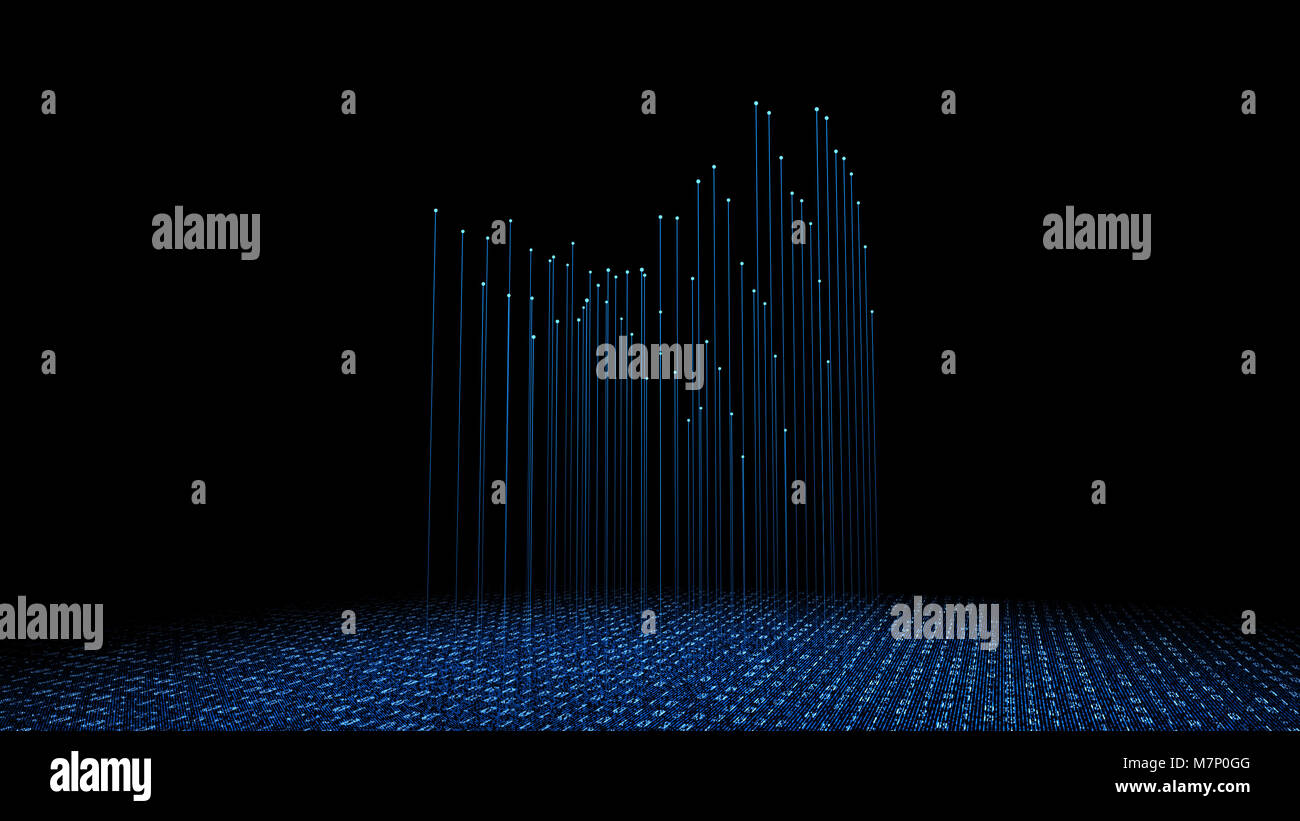 Internet technology communication, binary code programming, network connection - Stock Image