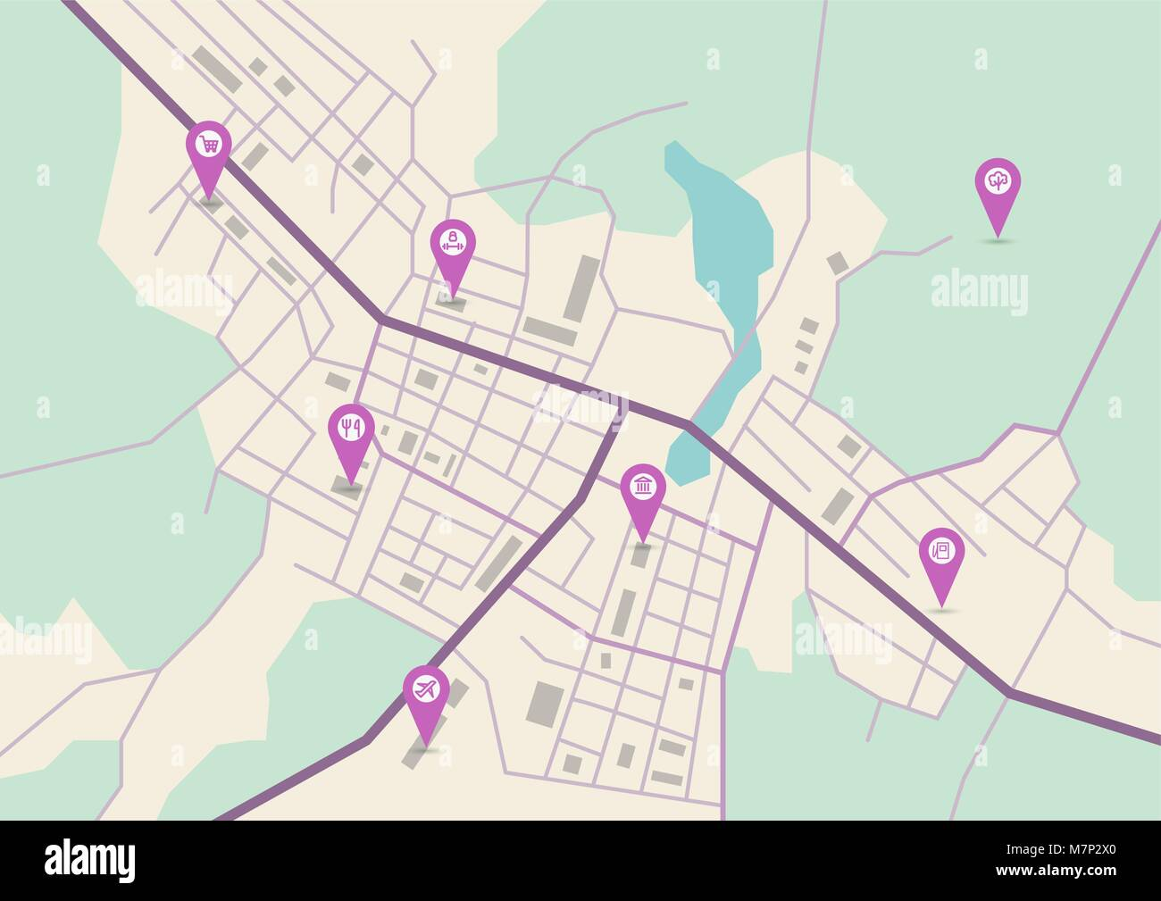 Vector city map - Stock Vector
