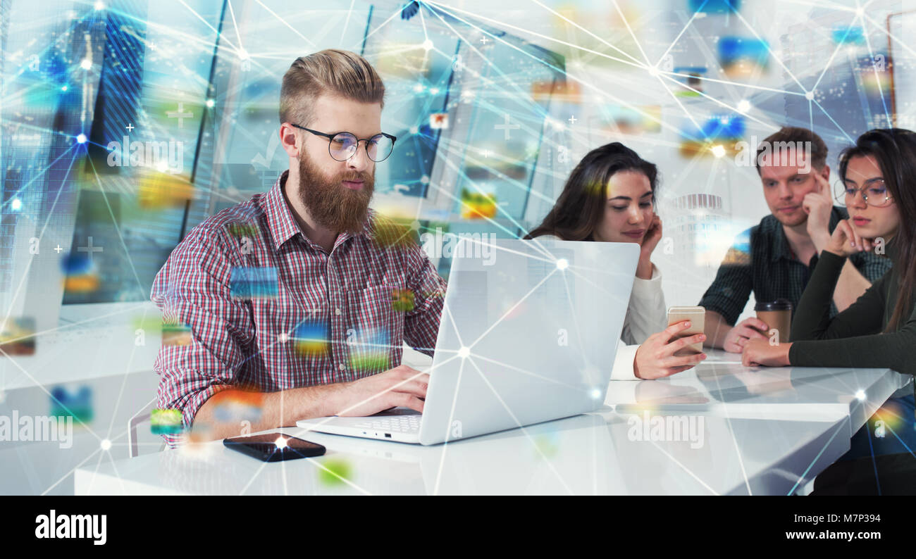 Businessman in office connected on internet network. concept of startup company - Stock Image