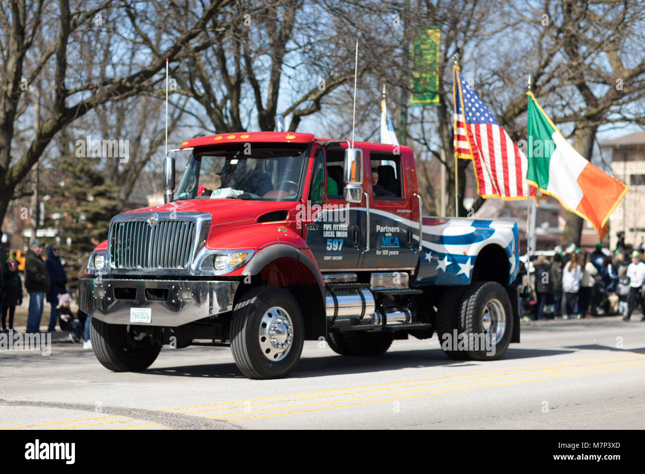 Chicago, Illinois, USA - March 11, 2018, The South Side Irish Parade is a cultural and religious celebration from - Stock Image