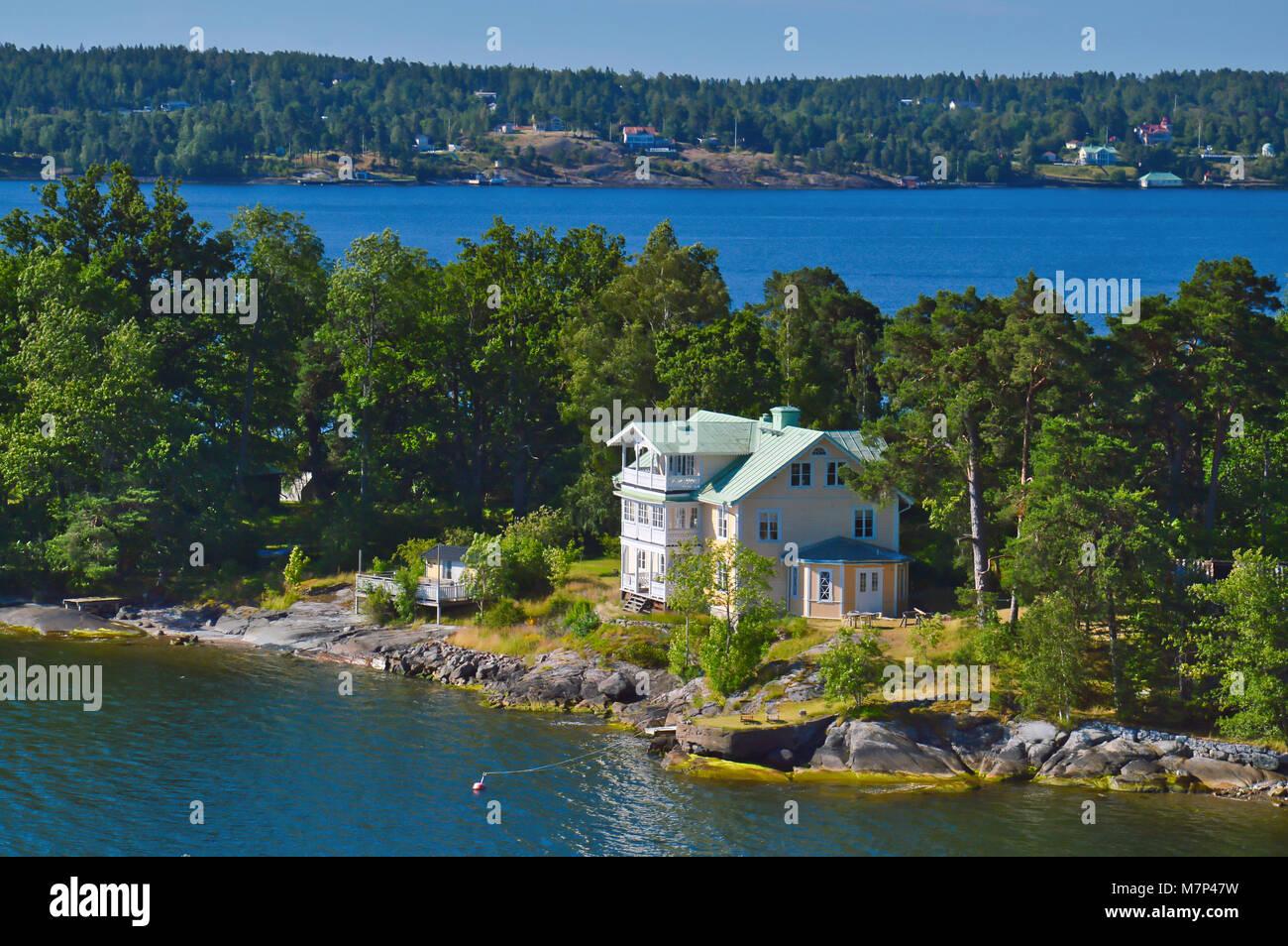 Swedish settlements on islets of Stockholm Archipelago in Baltic Sea, Sweden - Stock Image