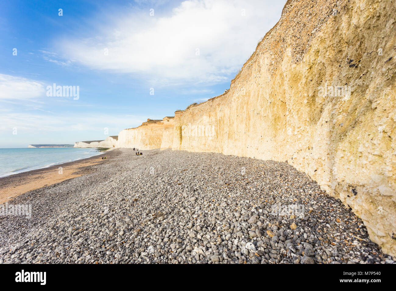 The Seven Sisters is a series of chalk cliffs by the English Channel. They form part of the South Downs in East - Stock Image