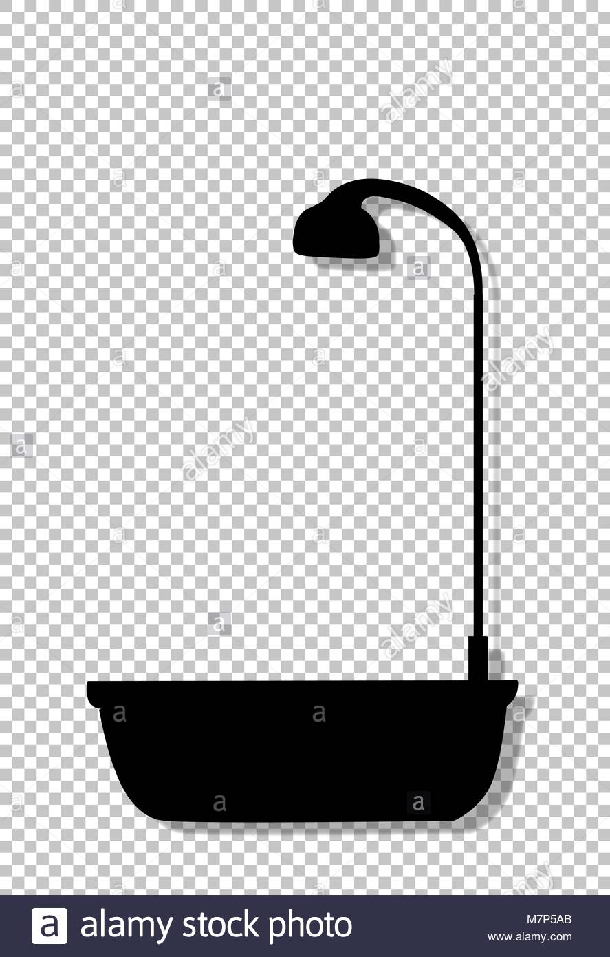 shower tub clipart. Black Silhouette Of Bathtub With Shower Head Icon Isolated On Transparent Background. Bath Time Vector Illustration, Logo, Icon, Clip Art For Design Tub Clipart