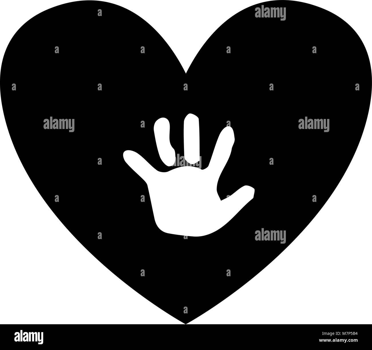 Baby handprint inside of black heart isolated on white background. Black and white vector illustration, logo, icon. - Stock Vector