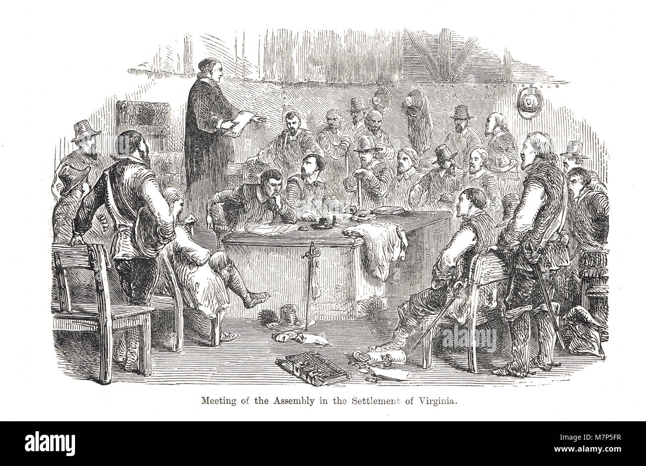 Meeting of the Assembly, settlement of Virginia, 1619, first assembly of the House of Burgesses. The first elected - Stock Image