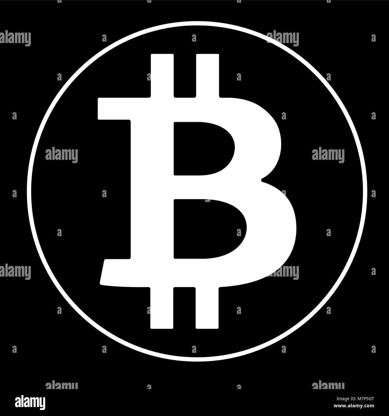 White Bitcoin Sign Icon On Black Background Crypto Currency Symbol