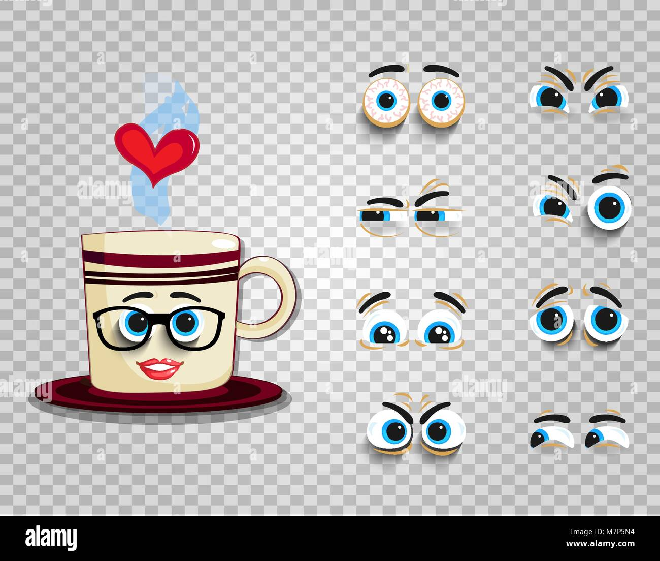 Emoji Set Of Cute Cartoon Cup With Changeable Eyes Collection Stock Vector Image Art Alamy
