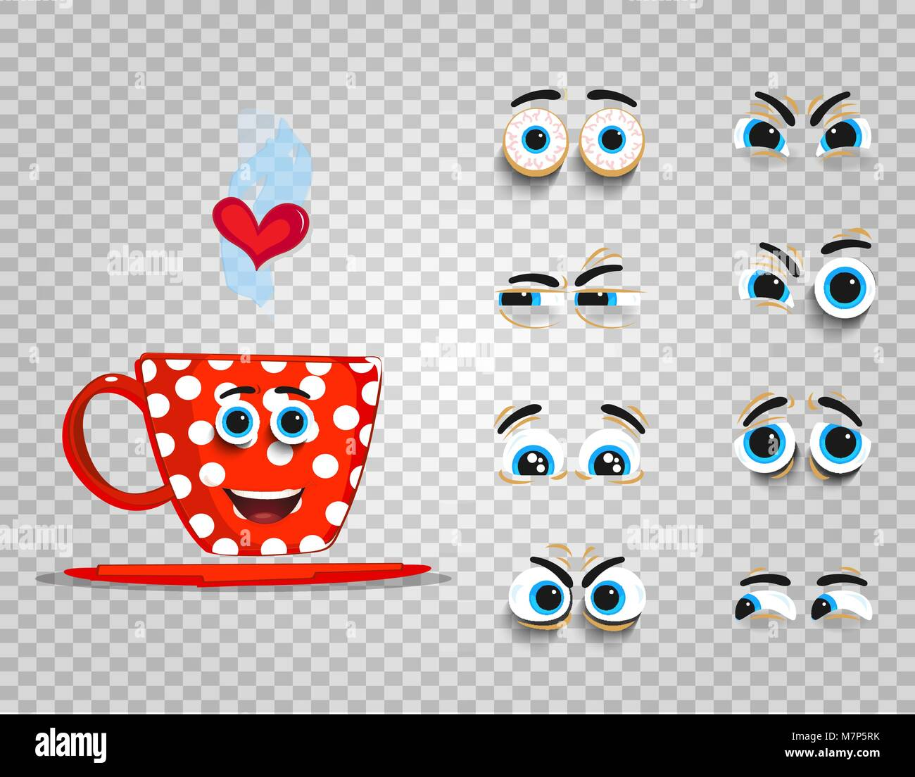 Cute Emoji Set Of Red Cup With Changeable Eyes Collection Doodle
