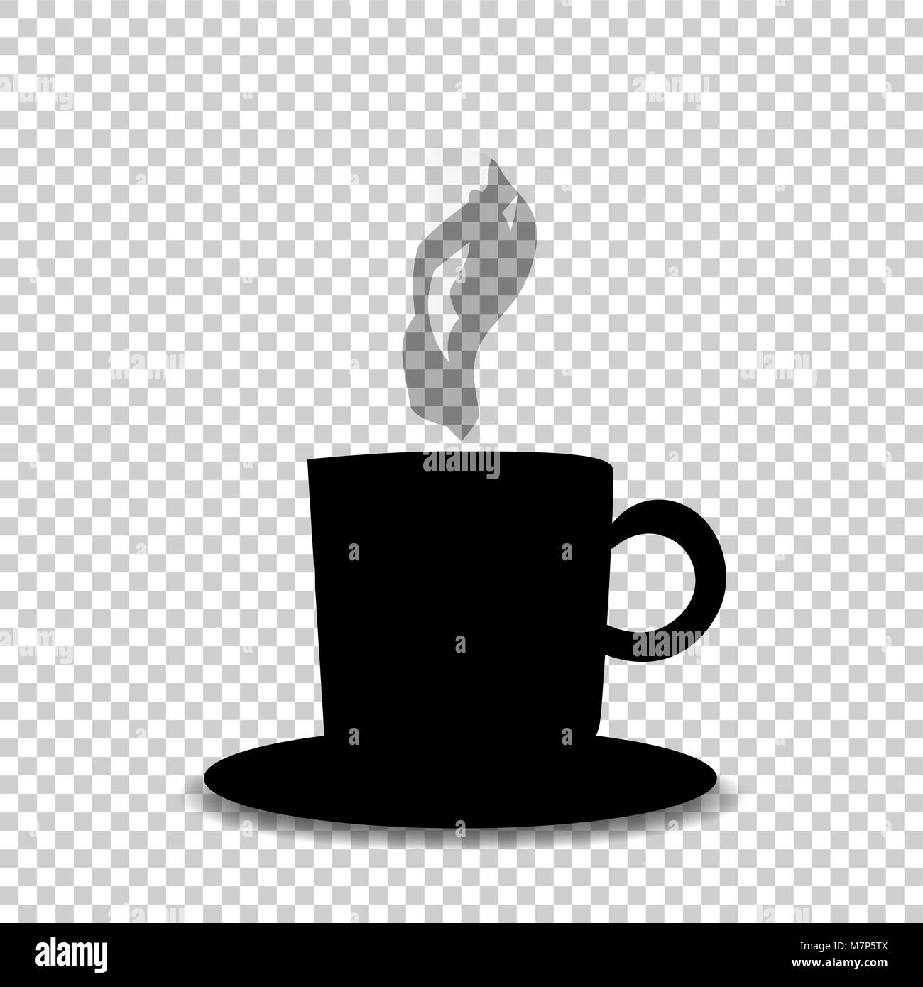 Black silhouette of tea or coffee cup with smoke isolated on transparent  background. Vector illustration, icon, - Stock Vector