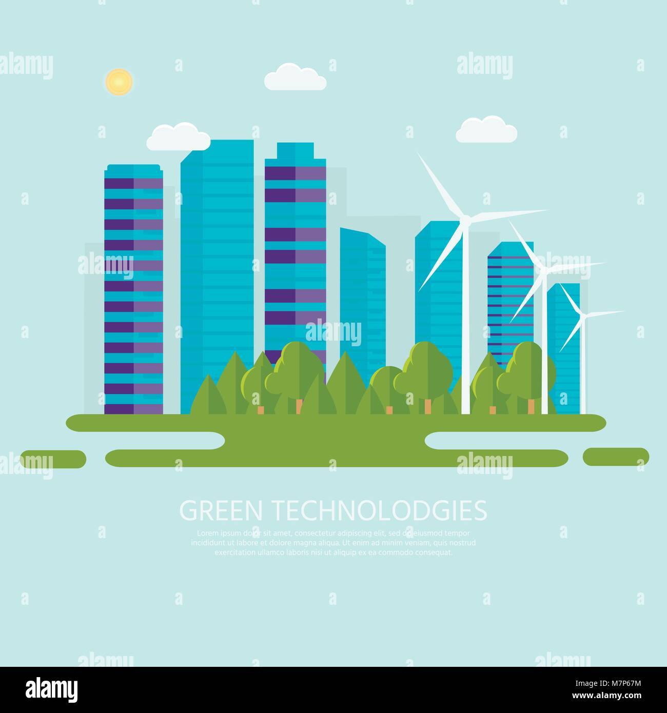Green modern house with solar panels, wind turbine and smart car. Eco friendly alternative energy. Ecosystem infographics. - Stock Vector