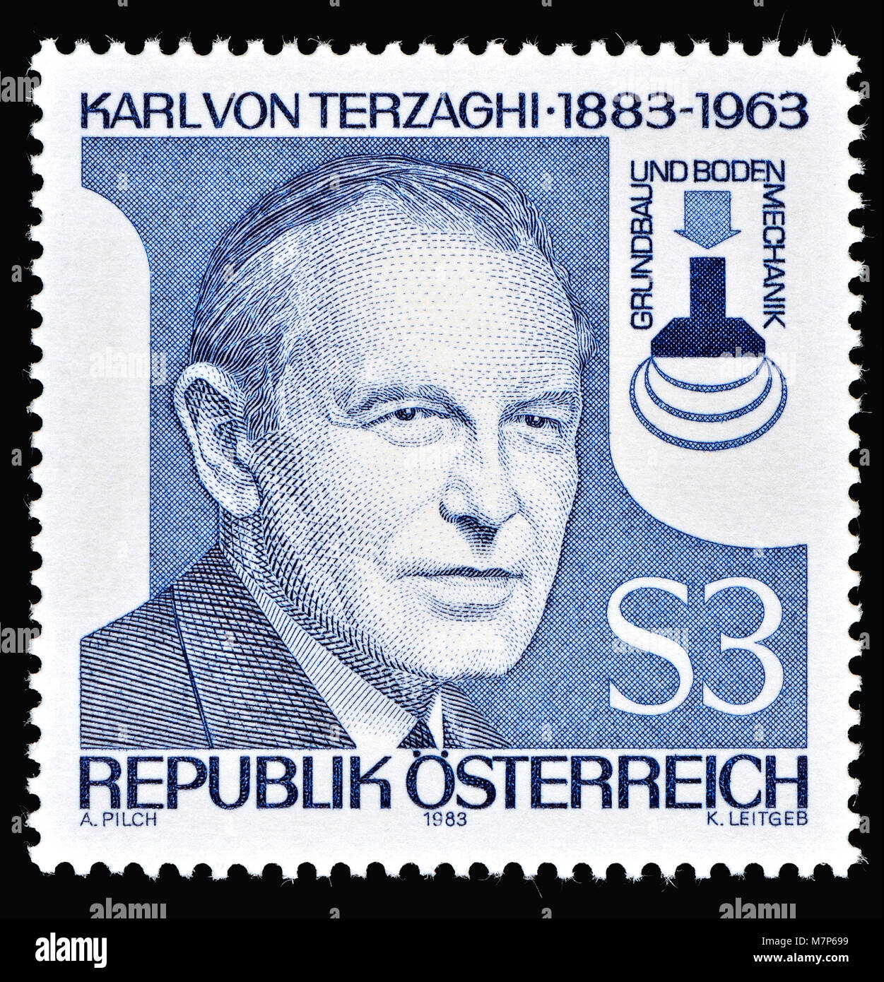 Austrian postage stamp (1983) : Karl von Terzaghi (1883 – 1963) Austrian civil engineer, geotechnical engineer and - Stock Image