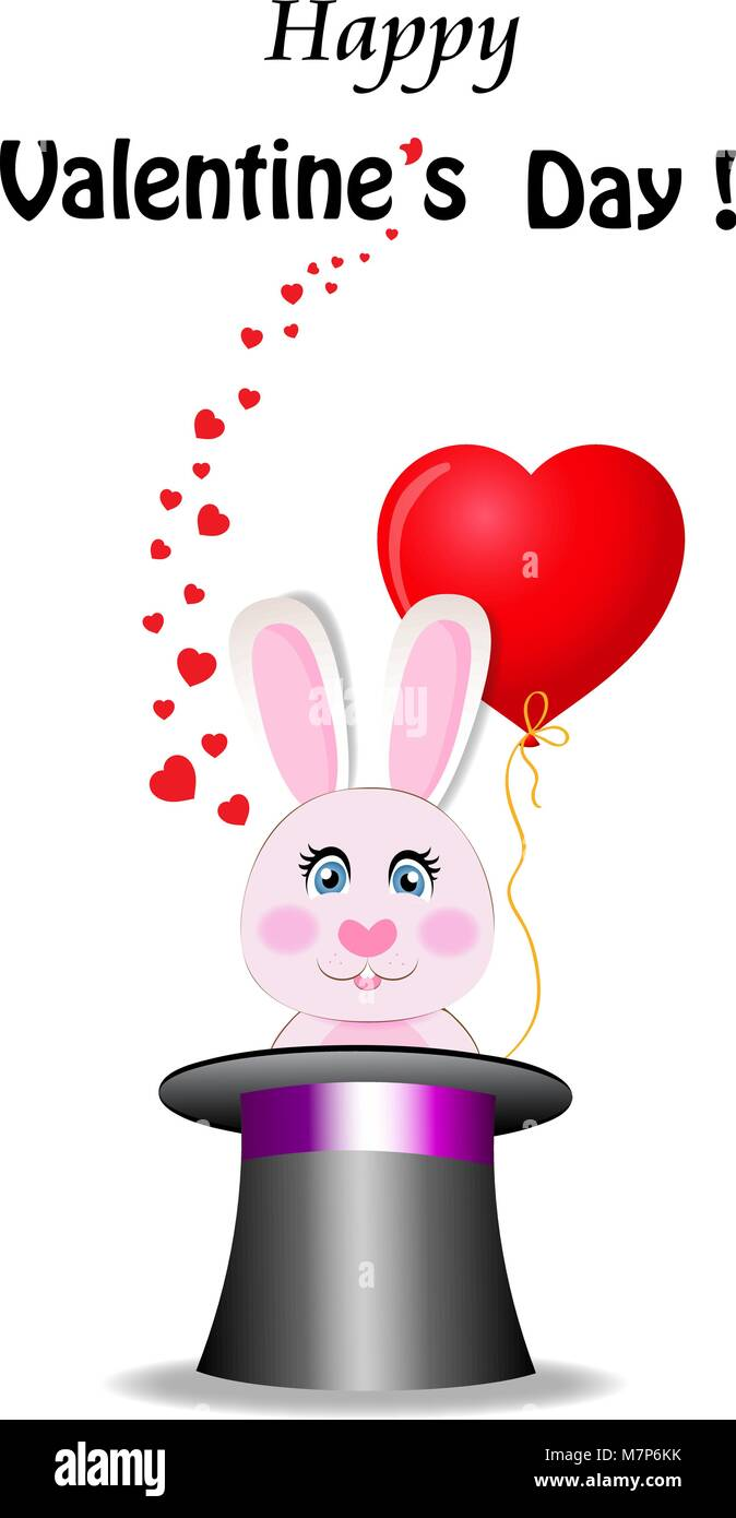 Velentine's day greeting card Cute bunny holds red heart shaped balloon in magic hat with many hearts around. - Stock Vector