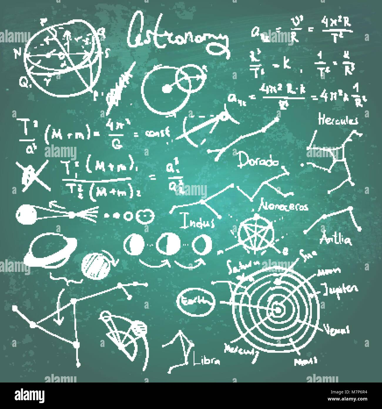Astronomic drawings on a chalkboard - Stock Vector
