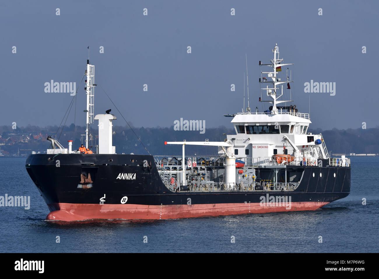 Tanker Annika entering Holtenau Locks at the Kiel Canal - Stock Image