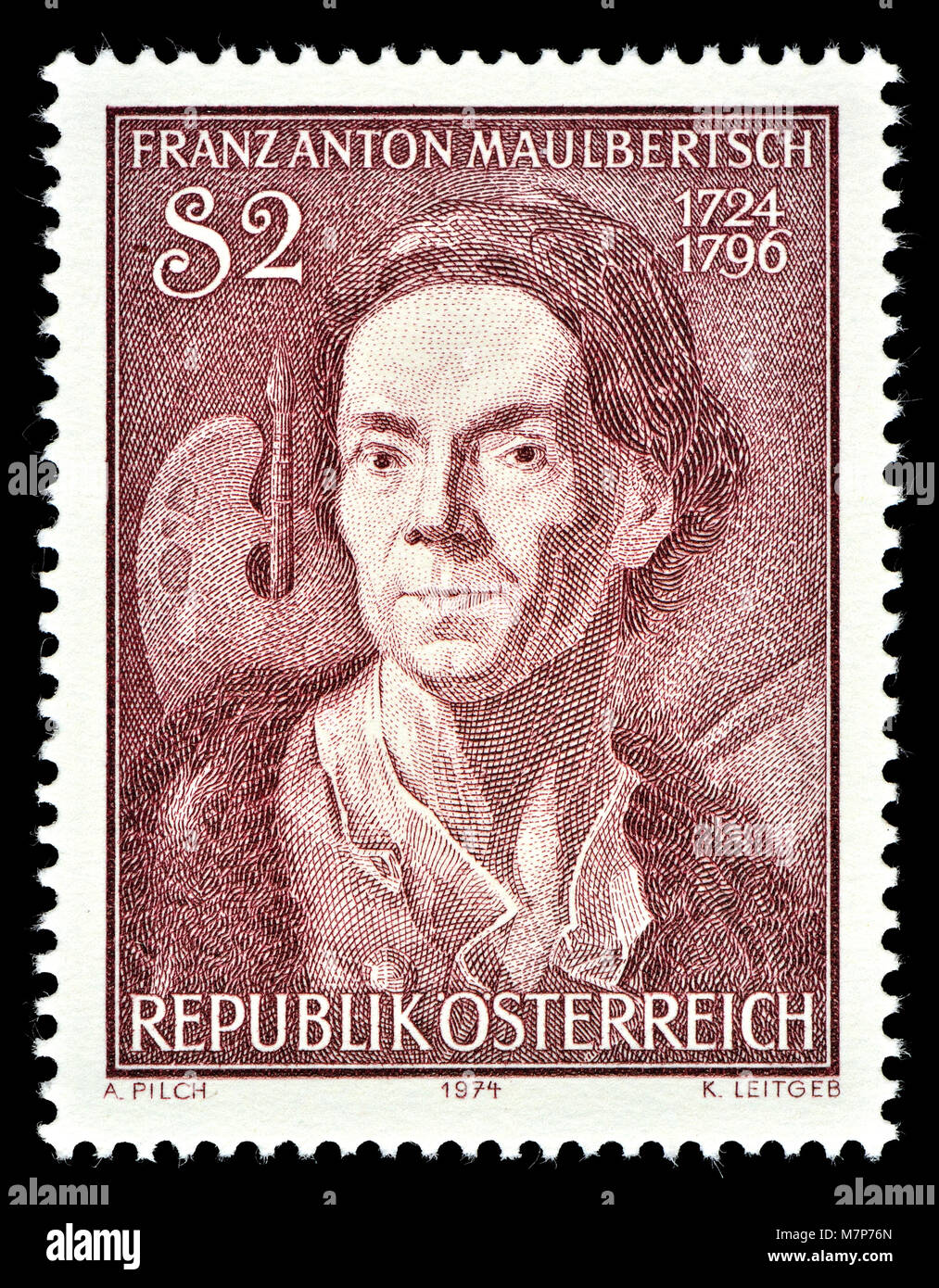 Austrian postage stamp (1974) : Franz Anton Maulbertsch (1724 – 1796) Austrian painter and engraver, renowned exponent - Stock Image