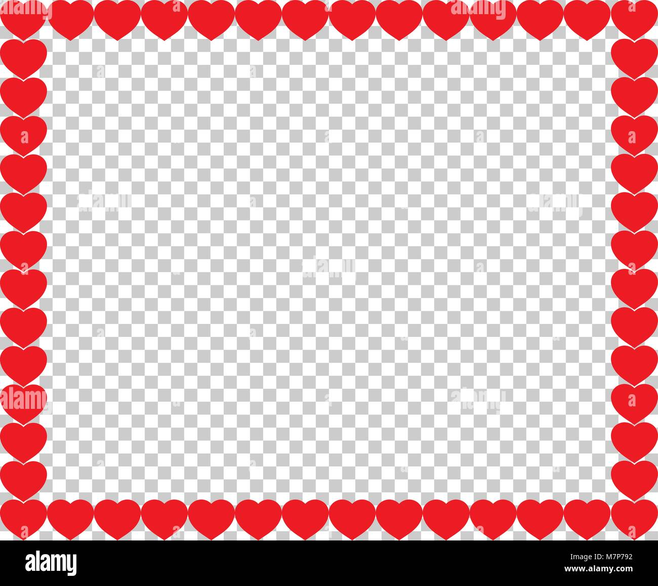 Cute Red Hearts Border With Space For Text Or Image Inside Isolated On Transparent Background Vector Full Framed Love Valentines Wedding Template