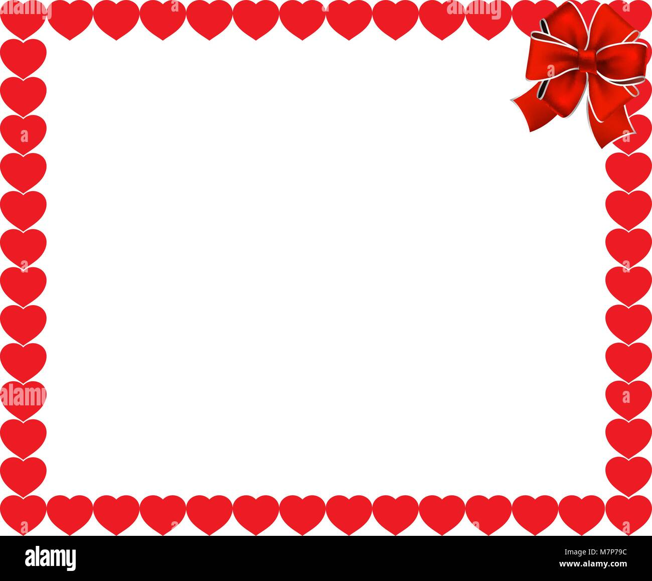 Valentines Day Or Wedding Background Red Hearts Border Frame With Space For Text Image And Festive Bow In The Corner Vector Illustration Tem
