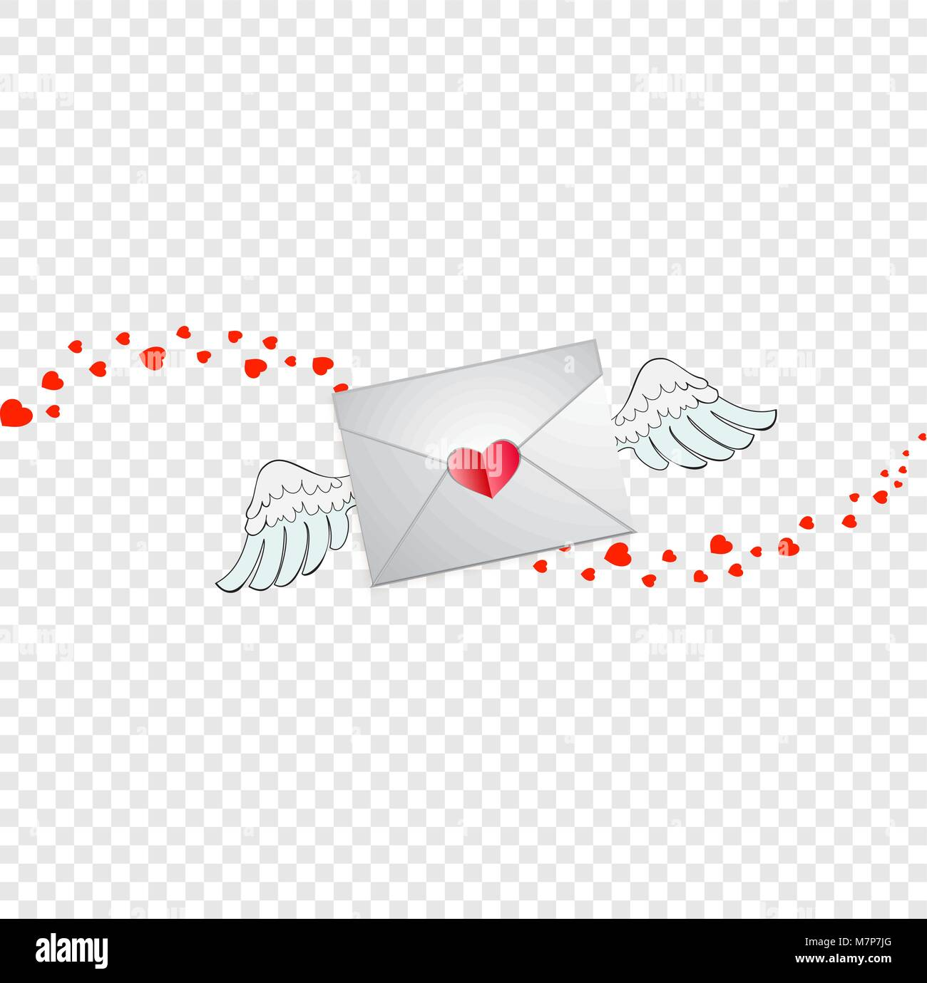 Closed Envelope With Heart Stamp White Angel Wings And Hearts Wave Track Isolated On Transparent Background Flying Love Letter Sign Valentines Day
