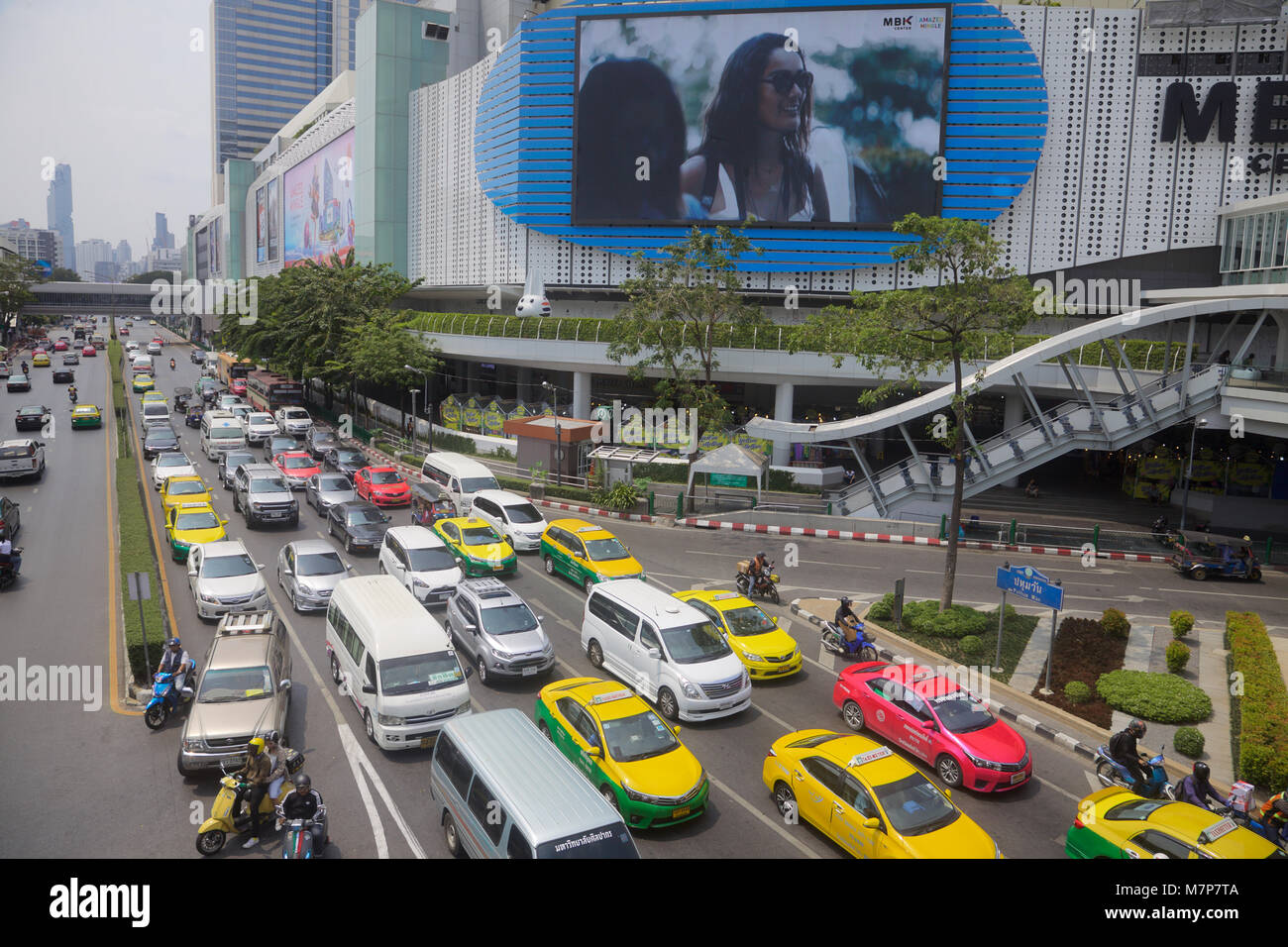 Traffic in the centre of Bangkok, Thailand Stock Photo