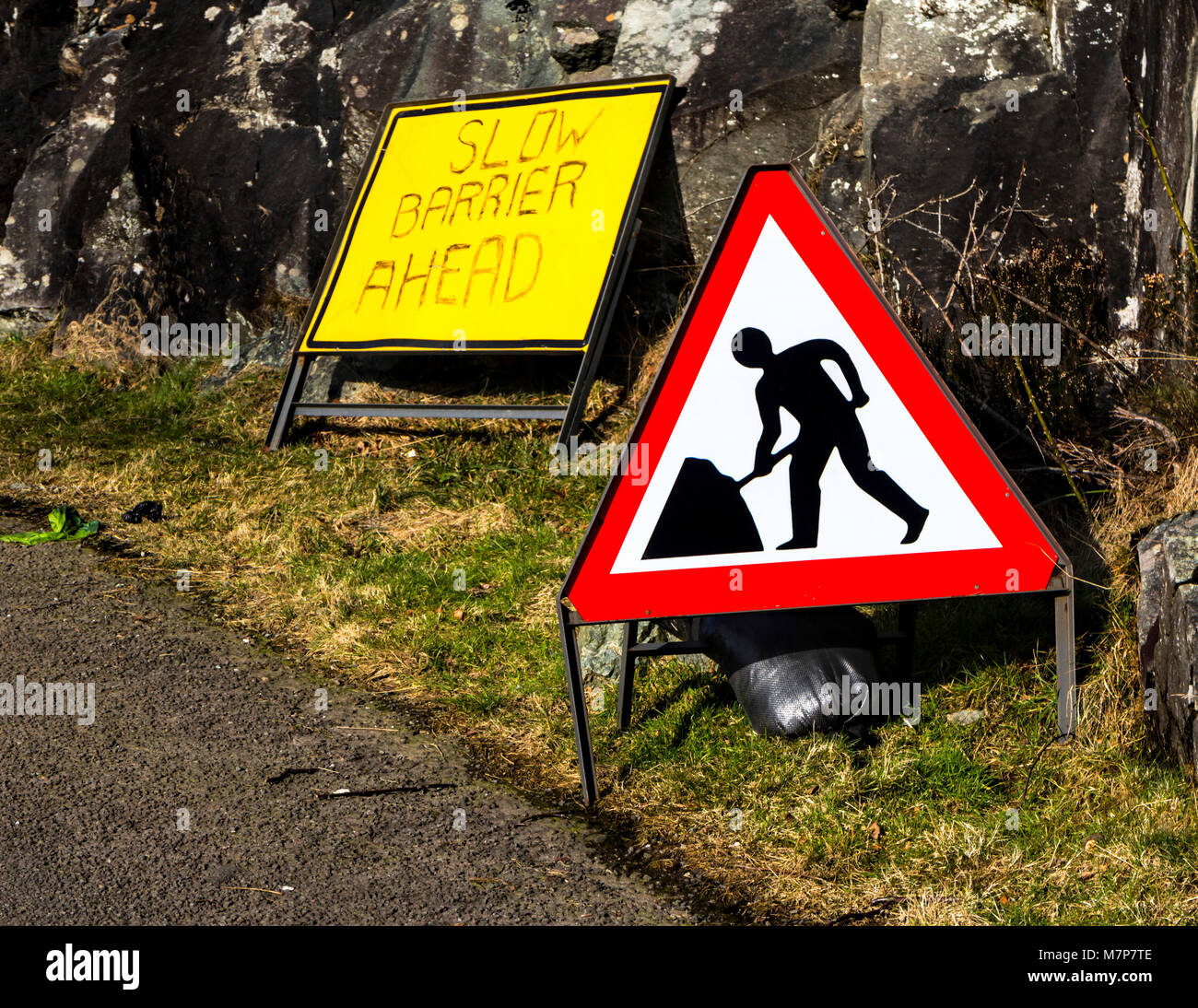 Triangular roadworks ahead warning sign, Scotland. Stock Photo