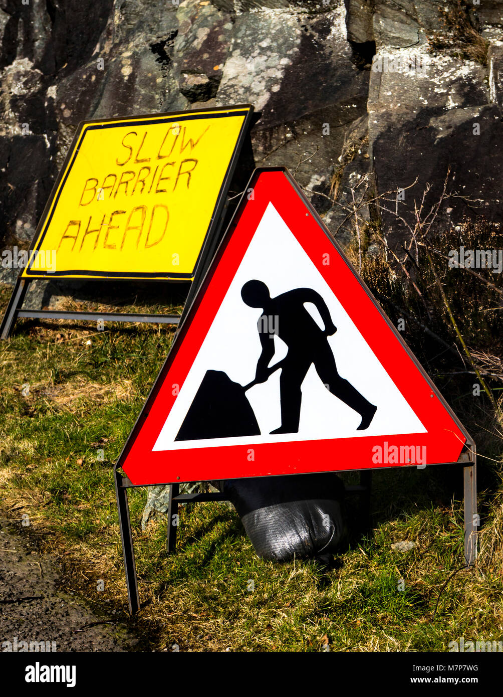 Triangular roadworks ahead warning sign, Scotland. - Stock Image