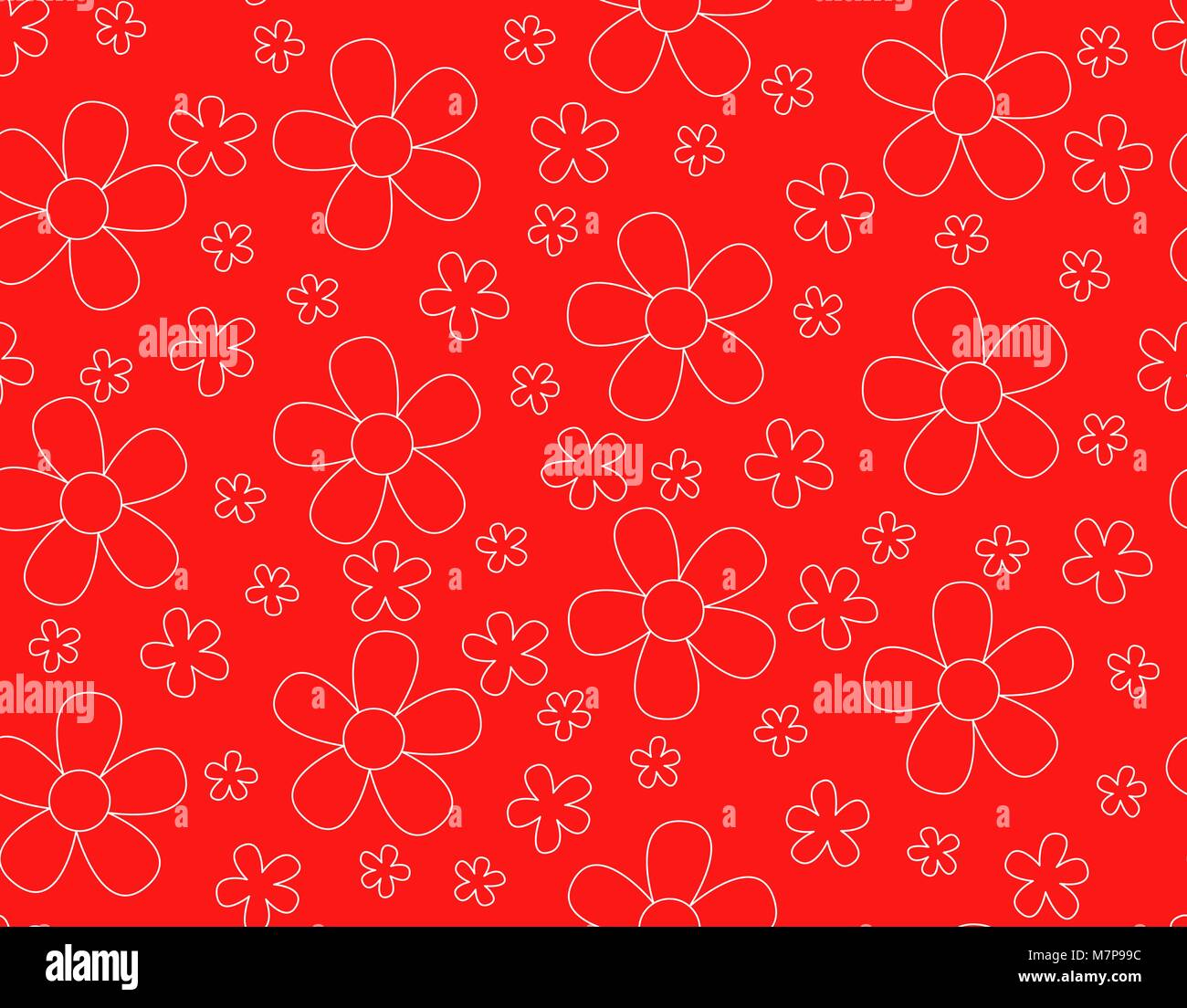 Seamless pattern with flower outline vector, White line on red background, Vintage flower, Not ordered pattern, - Stock Vector