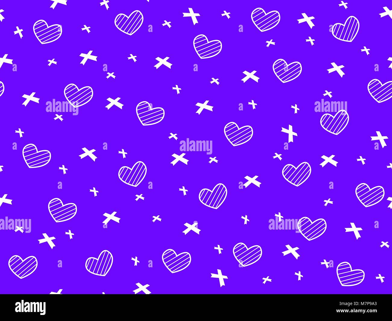 Mini heart and ribbon on blue background seamless pattern,Shape of heart and ribbon pattern, Not ordered pattern, - Stock Vector