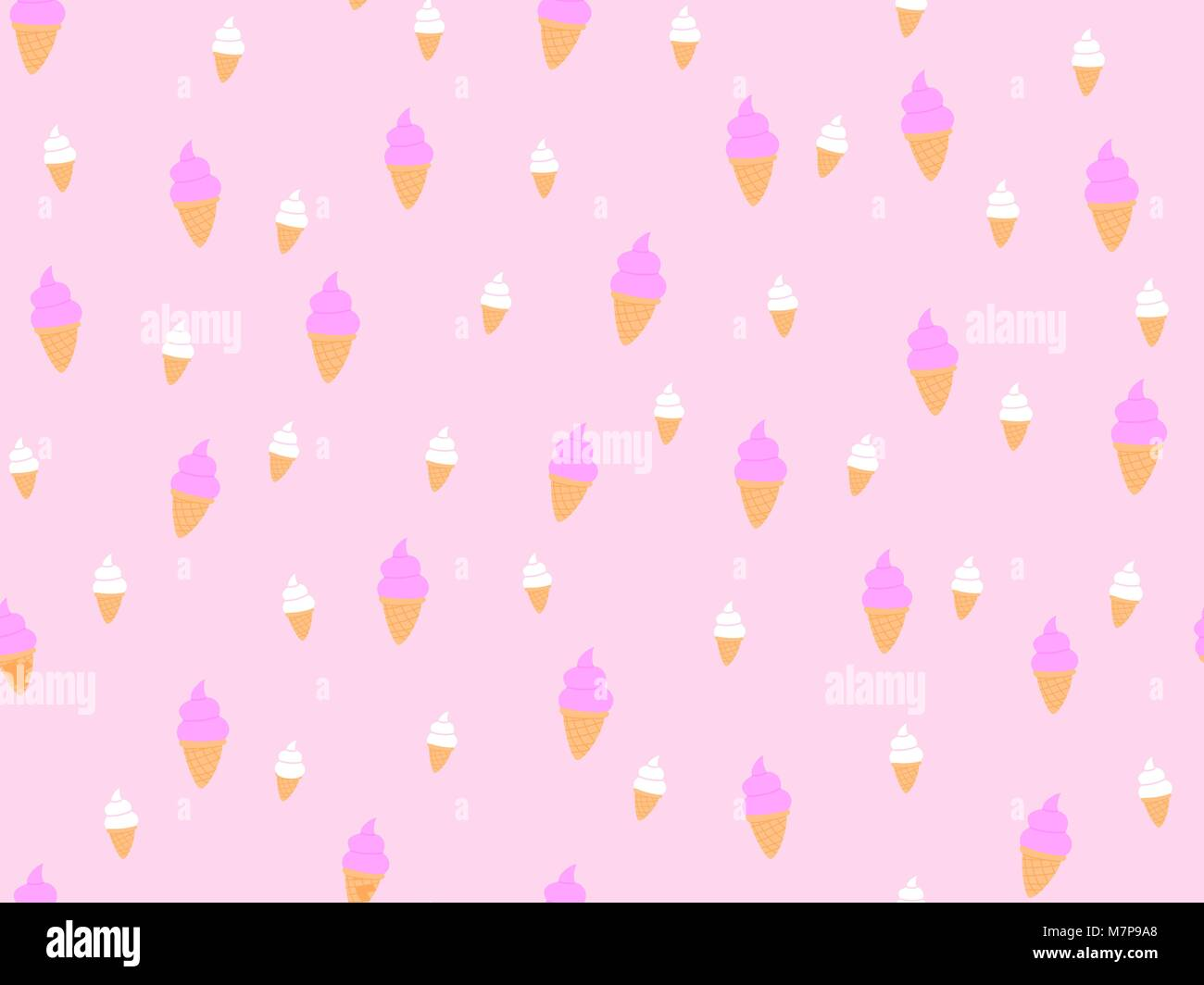 Ice cream seamless pattern, Seamless pattern with soft cream, cartoon style, Not ordered, Ice cream flat vector - Stock Vector