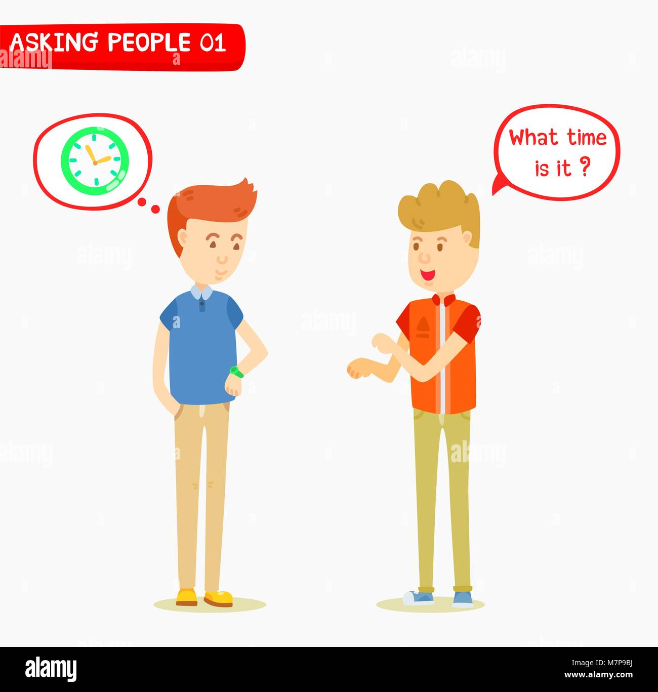 Young man ask the time to his friend, Two man talking about the time, What time is it ?, Hand gestures, Message - Stock Vector