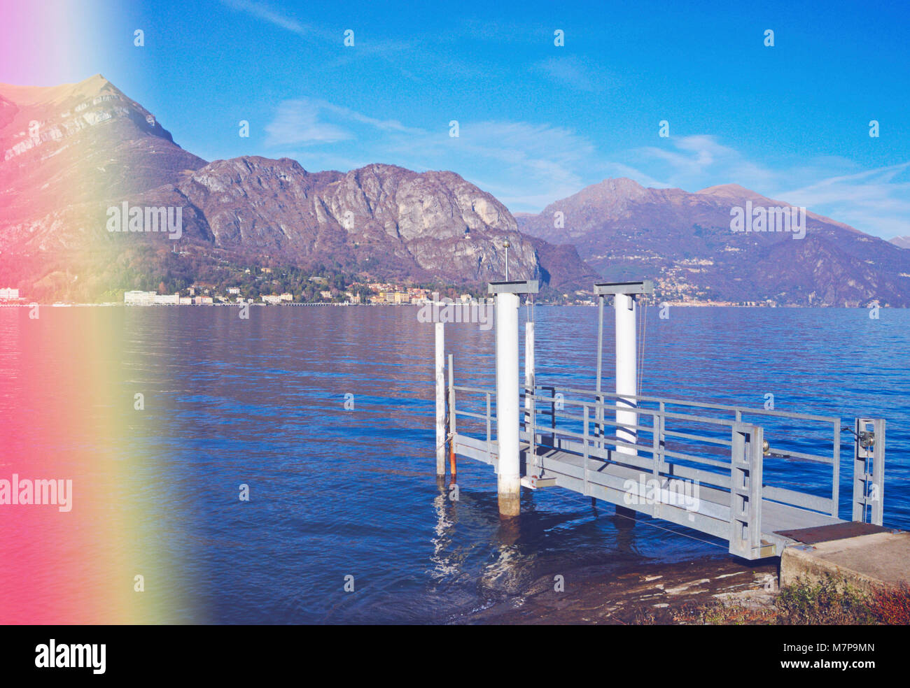 Lake Como with light leak effect - Stock Image