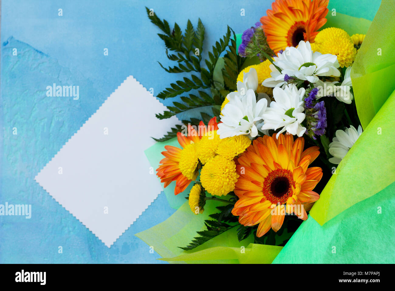 Romantic Spring Flowers Stock Photos Vintage Story Flower Japanese Chrysantemum 2 A Wedding Or Background Mothers Day Bouquet Of Gerbera With Chrysanthemums And Present On