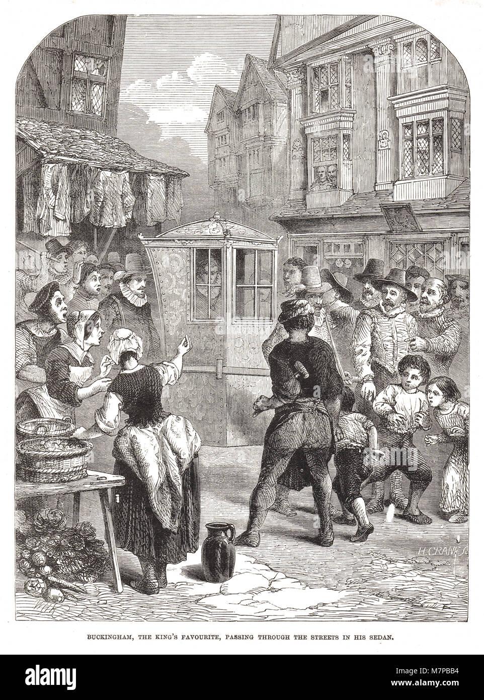 George Villiers, 1st Duke of Buckingham, riding in his Sedan, through streets of London, England, 17th century - Stock Image