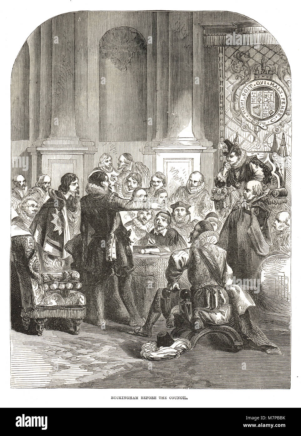 George Villiers, 1st Duke of Buckingham, before the council, 17th century - Stock Image