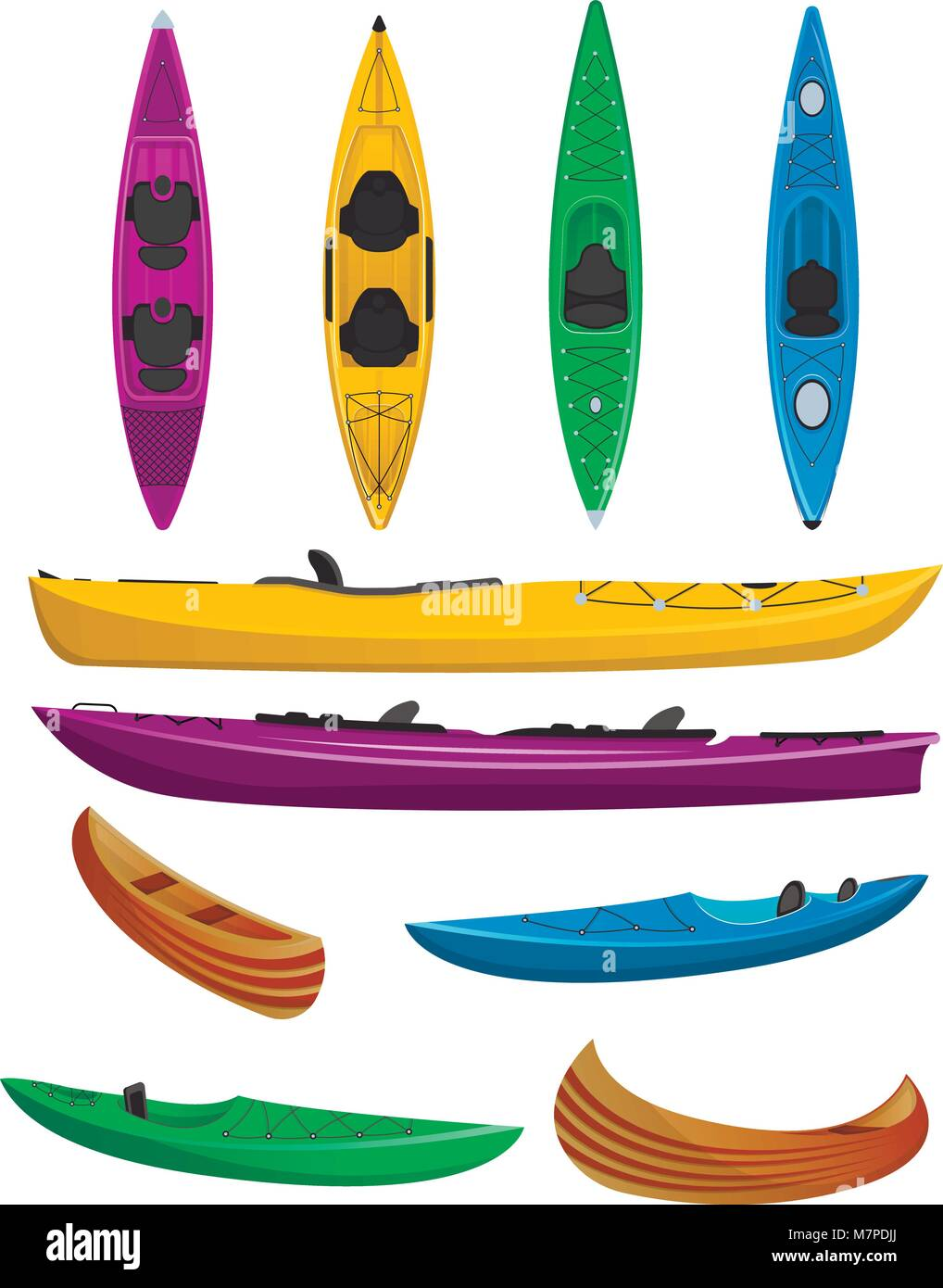 Plastic colorful kayaks isolated set - Stock Vector